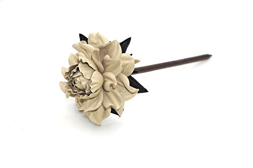 "Yak Lialia Genuine Leather Flower 2.5"" Ivory Beige Rose Wooden Hair Stick 7.5"""