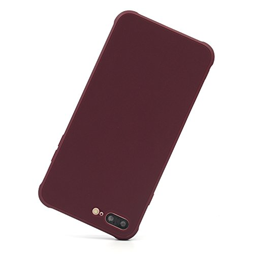 Maroon Phone - Danbey Case for iPhone 8 Plus, iPhone 7 Plus 5.5-inch, Matte Surface Drop Protection, Charming Colorful, Skin Feeling, 1.5mm Thick Flexible TPU (Shockproof-Wine Red)