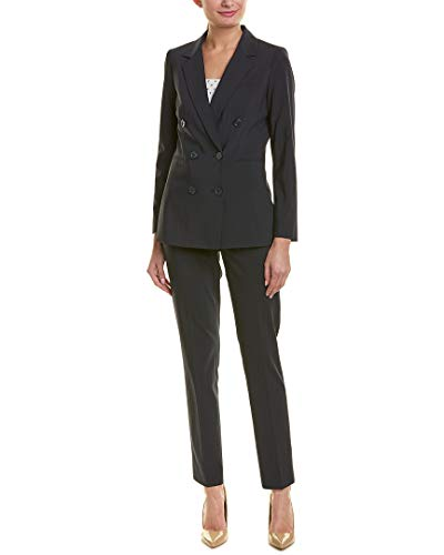 Tahari by ASL Women's Shadow Stripe Double Breasted Pants Suit Navy - Pants Shadow Stripe