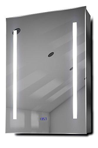 Jace Clock LED Bathroom Mirrored Cabinet With Demister Pad, Sensor & Shaver k390