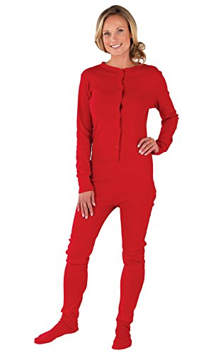 PajamaGram Women's Cotton Dropseat Footie Pajamas, Red, 2X (20-22) -