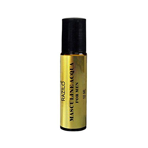 Razilo Masculine Acqua; a pure long lasting perfume oil for Men; 10ml roll on amber glass roller bottle