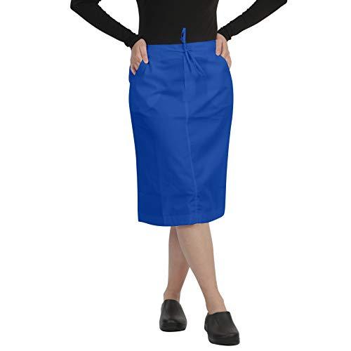 MAZEL UNIFORMS Womens MID Calf Length Scrub Skirt with Drawstring Royal Blue,Medium