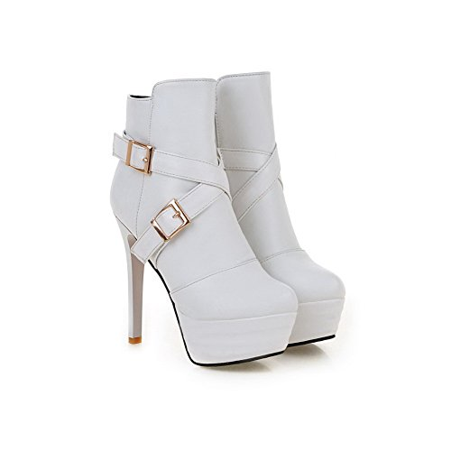Leather Platform Buckle White Heels Imitated amp;N Boots Girls A Chunky H4w1qA0fa