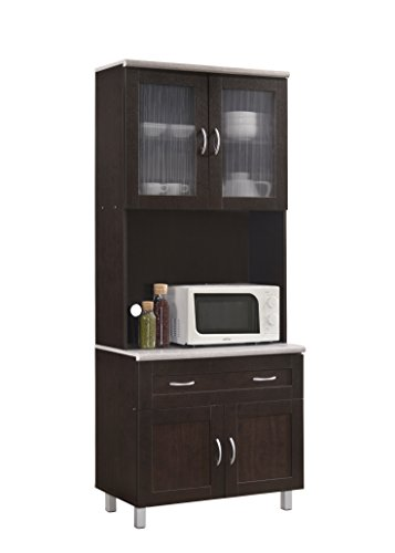 Hodedah HIK92 Choco-Grey Kitchen Cabinet, Chocolate (Microwave Carts With Hutch)
