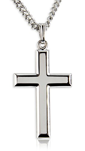 Heartland Store Classic High Polish Cross Sterling Silver Pendant for Men + 24 Inch Rhodium Plated Chain & Clasp