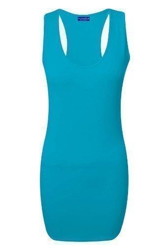 Zafiro Mujer Músculos Dorsales Corredora Vestido Ceñido Sin Mangas Mujer Todos Colores Camiseta 8-14 Turquesa