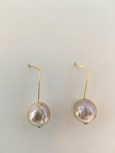 "Freshwater cultured 10 mm round Kasumi like dangle drop pearl earrings pink, peach, metallic color on gold plated modern square top earring wires. 1 1/8 "" long. Handmade one of a kind piece. (Square Wire Earrings)"