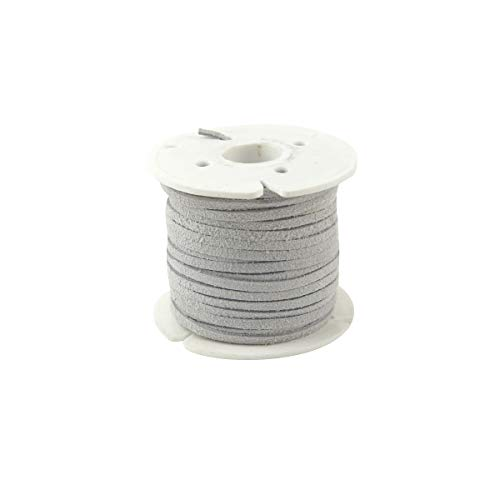 3mm Gray White Leather Lace Spool Jewelry Making Thread 25 Yd Roll Cording Suede Deer Genuine Leather Lace