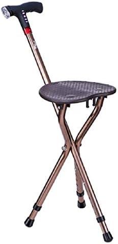 HUYYA 座席付き杖、アルミ合金製三脚滑り止め多機能調節可能な高さ折りたたみステッキ