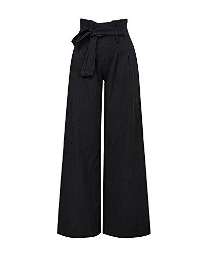 Xintianji High Waist Wide Leg Pant with Belt for Women Girls Black_M by Xintianji