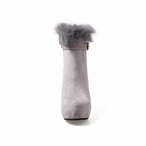 Latasa Kvinna Plattform Hög Klack Vinter Boots Grå