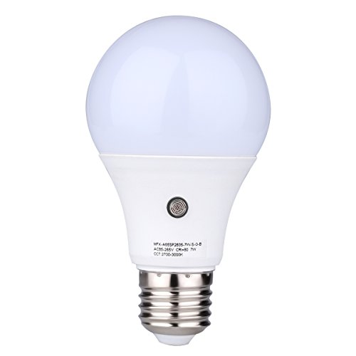 TOPCHANCES 7W E27 Dusk to Dawn Energy Save Smart Automatic Sensor LED Ball Bulbs, Natural White 4000K