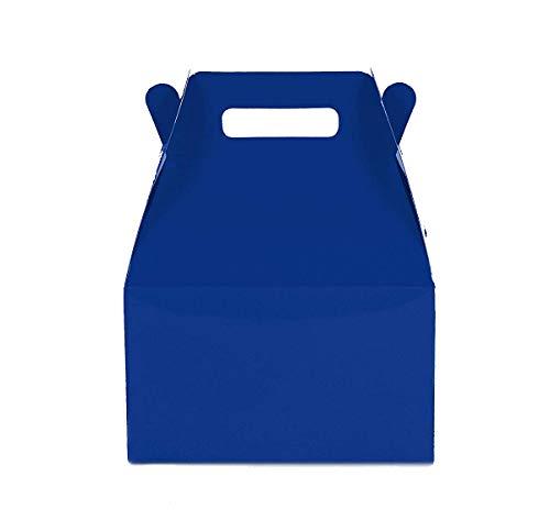 12CT (1 Dozen) Medium Biodegradable Kraft / Craft Favor Treat Gable Boxes (Medium, Royal Blue)