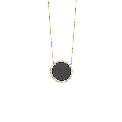Black Onyx and Cubic Zirconia Halo Necklace 14k Yellow (14k Yellow Gold Onyx)