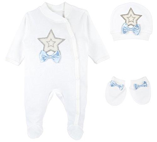Lilax Baby Boy Star Jewels Layette 3 Piece Gift Set 3-6 Months Blue