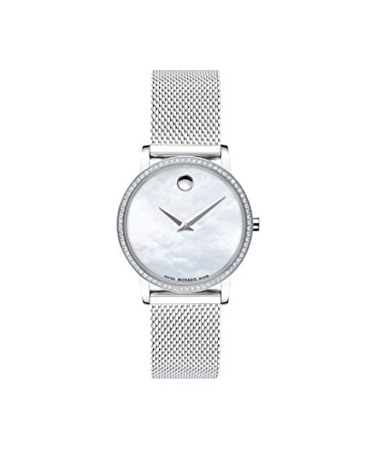 Movado Museum Classic, Stainless Steel and Diamond Case, White Mother of Pearl Dial, Stainless Steel Mesh Bracelet, Women, 0607306 ()