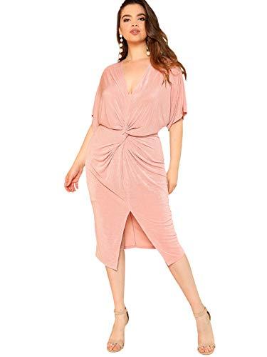 Floerns Women's Short Sleeve V Neck Twist Front Split Midi Dress Pink-2 0XL