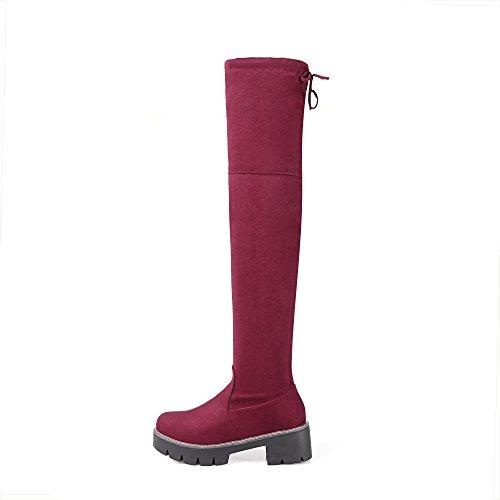 BalaMasa Boots Womens Red Casual Fabric Boots Solid r8ragwBq