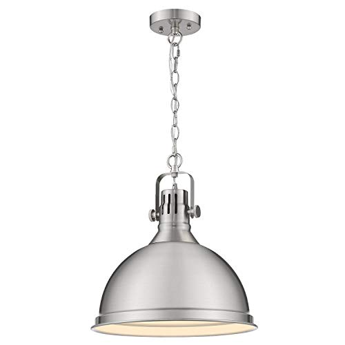 72 Inch Brushed Nickel Chain - Emliviar 14 inch Pendant Lighting, Modern Metal Cage Hanging Light for Kitchen, Brushed Nickel Finish, 4054L BN