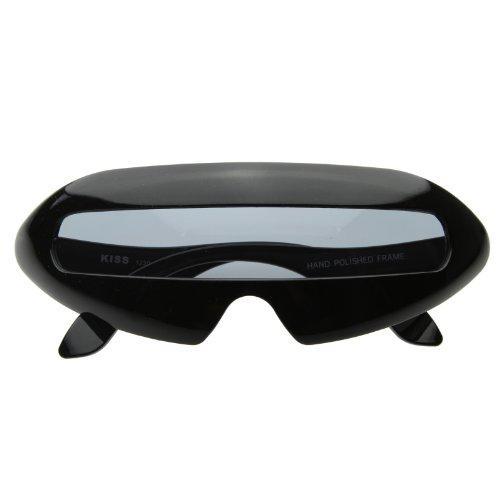 Futuristic Shield Oval Wrap Sunglasses