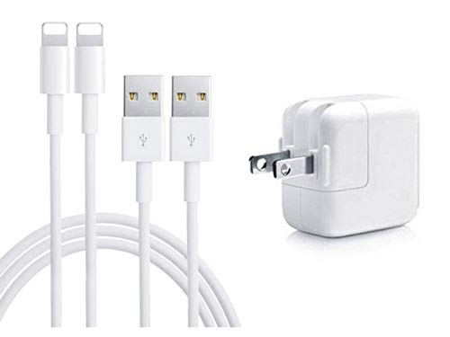 Charger 12W 2.4A Charger USB Wall Portable Travel Plug and 2 Pack 3FT Cable for iPad 4/Mini/Air/Pro, iPod,iPhone X/8/8Plus/7/7Plus/6s/6sPlus/6/6Plus/SE/5s/5 (Best Ipad 2 Charger)