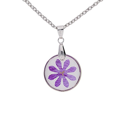 The Ambient Collection Real Dry Pressed Flower Resin Necklace - Circle Shape - Violet Handmade in Thailand Unique Design for Woman Girls Jewellery