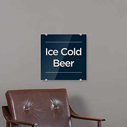 5-Pack CGSignLab Ice Cold Beer 16x16 Basic Navy Premium Brushed Aluminum Sign
