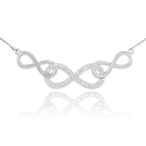 Forever Dainty 14k White Gold Diamond Triple Infinity Pendant Necklace, 20
