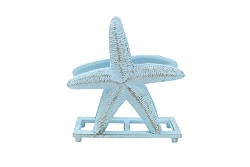 "Rustic Light Blue Cast Iron Starfish Napkin Holder 6\"" - Decorative Starfish -"