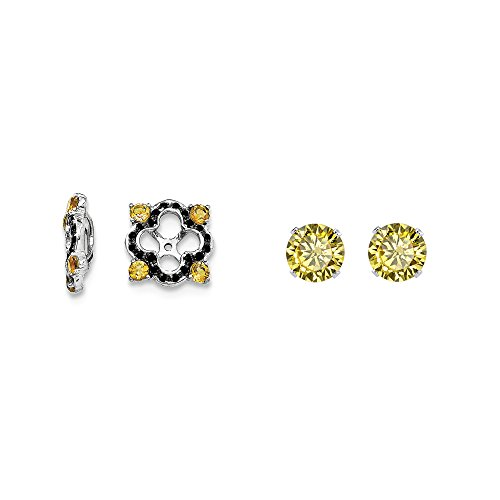 Sterling Silver Simulated Citrine, Black Simulated Sapphire Earring Jacket + 2mm Yellow CZ Stud Earrings by Mireval