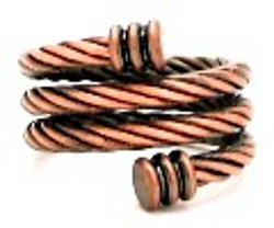 Copper Adjustable Magnetic Ring ~ Twisted Snake ()