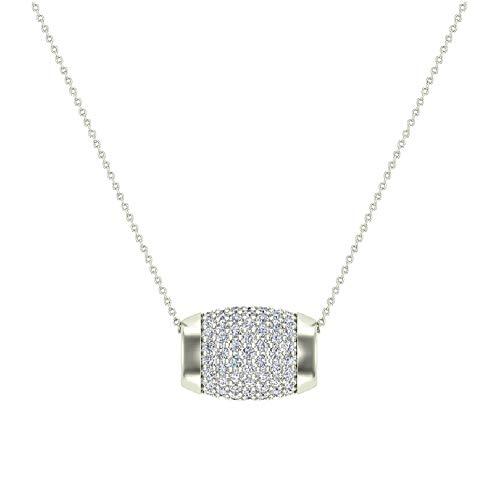 14K White Gold Barrel Shape Charm Pendant Pavé Diamonds Eternity 1.17 Carat Total Weight
