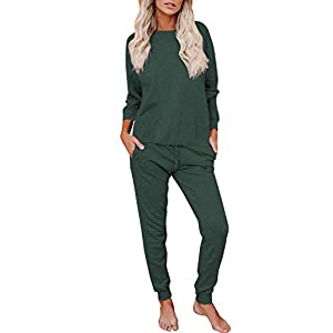 Women 2 Piece Tracksuit Outfit Crewneck Pullover Jogger Sweatpants Solid Sweatsuit with Pockets