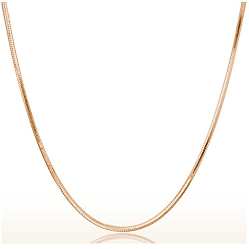 Price comparison product image Aniywn Simple 1PC 2mm Rose Gold Snake Round Chain Necklace Concise Silver Tone 45cm (Gold)