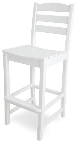 POLYWOOD TD102WH La Casa Café Bar Side Chair, White - Stool Case