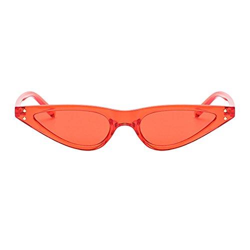 amp; Lunettes Rouge Eyewear Triangle Rivet Femmes amp; Cadre Plastique Etui chat Soleil Rouge de Steampunk Lunettes Lens de Hzjundasi Frame Œil Chiffon UV400 pour Petit URZnpxqUd