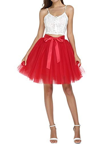 Women's Above Knee High Waist Tutu Tulle Skirt Adult 7 Layers Dance Petticoat Red ()