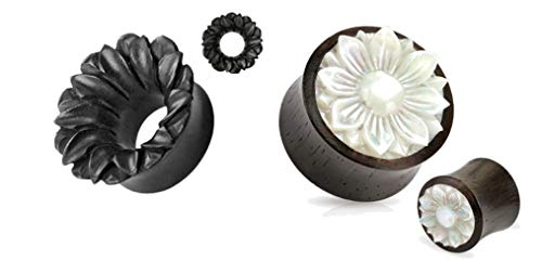 2 Pairs of Organic Black Flower Mother of Pearl Wood Hand Carved Ear Plugs Tunnels Gauges 0g 00g 1/2 9/16 5/8 3/4 7/8 1 Inch (00g)
