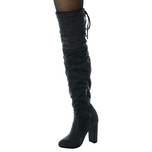 Femme Cuissarde Motard Bloc Souple Chaussure Angkorly Légèrement Cm Intérieur 10 Mode Lacets Haut Cavalier Gris Fourrée Talon qIYxFHCw