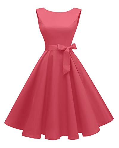 Hanpceirs Women's Boatneck Sleeveless Swing Vintage 1950s Cocktail Dress Coral L (1950s Coral Dress)