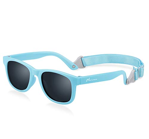 Nacuwa Baby Sunglasses - 100% UV Proof Sunglasses for Baby, Toddler, Kids - Ages 0-2 Years - Case and Pouch ()