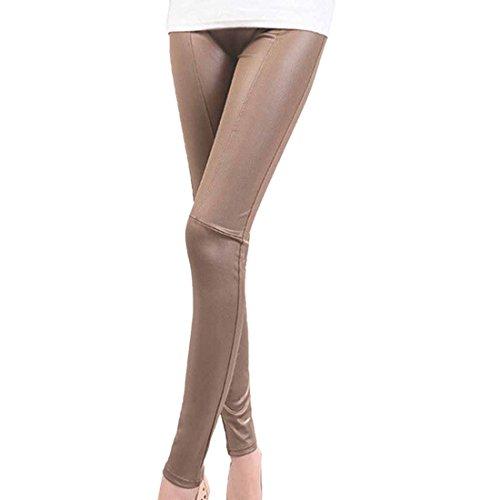 largo Faux Pu recortados mujer leggings cintura cuero color estiramiento caqui Sexy alta zT5xqA5p