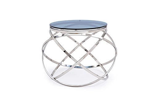 Modrest Tulare Contemporary Smoked Glass End Table - Glass Tulare