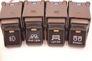 Jeep TJ Wrangler Rocker Switch 4 Switch Kit- Light Logo, Rock Light Logo, Light Bar Logo and Blinders Logo Life Time Warranty