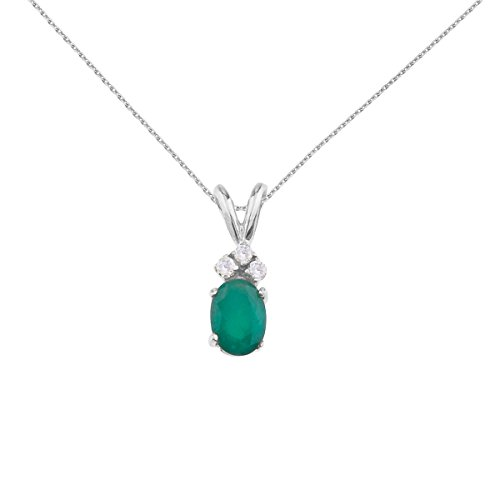 Jewels By Lux 14K White Gold Genuine Birthstone Oval Emerald Pendant with Diamonds (0.95 Cttw.) ()