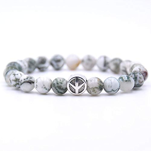 (Zozu KANGKANG Peace sign Bracelet Classic Natural Stone 18 styles Bead Bracelets for Men Women Best Friend charm gift 2018 (15))