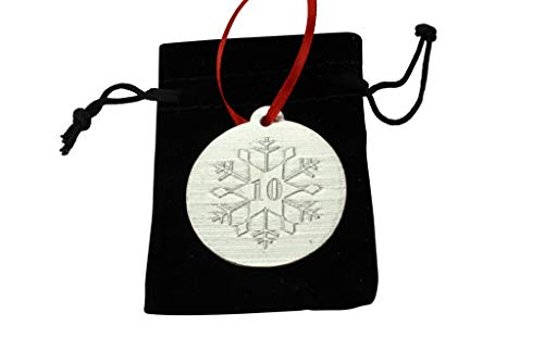 10th Christmas Snowflake Metal Decoration - 10th Anniversary Idea -