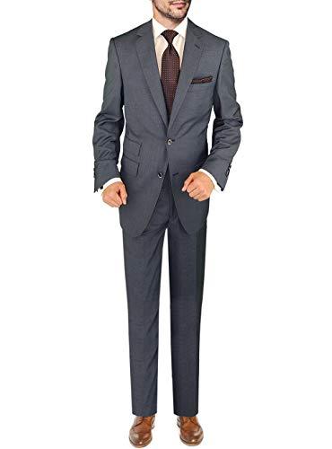 DTI BB Signature Italian Men's Wool Suit Two Button 2 Piece Ticket Pocket Jacket (42 Regular US / 52R EU/W 36