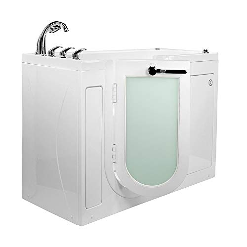 Ella's Bubbles OA2660HM-L-HB Lounger Hydro Massage and Microbubble Walk-In Bathtub with Left Outward Swing Door, Fast Fill Faucet, 2